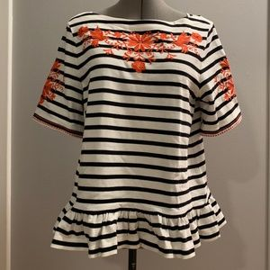 NWT Kate Spade Broome Street Embroidered Top Sz L